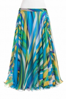 Belly dance fine silk chiffon skirt - aqua stripe