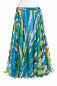 Belly dance fine silk chiffon skirt - aqua stripe