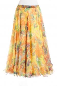 Belly dance fine silk chiffon skirt - spring splash