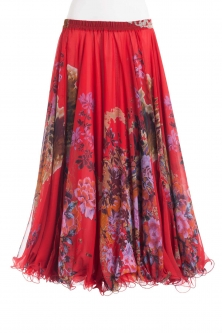 Belly dance fine silk chiffon skirt - blossom on red