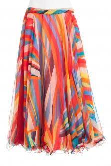 Belly dance fine silk chiffon skirt - fruit stripe