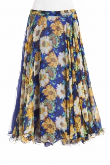Belly dance fine silk chiffon skirt - flower eve