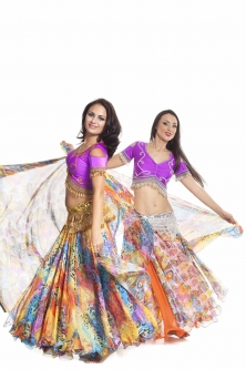 Belly dance fine silk chiffon skirt - leopard rainbow