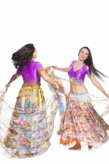 Belly dance fine silk chiffon skirt - peacock rainbow