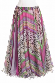 Belly dance silk chiffon skirt + sparkle lining