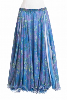 Belly dance fine silk chiffon skirt - dusk posy