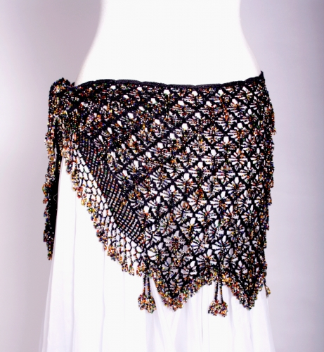 Belly dance fully crocheated beaded belt