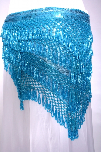 Unique designer belly dance belt in turquoise sparkle