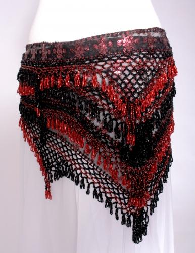 Unique designer belly dance belt in black/ruby sparkle