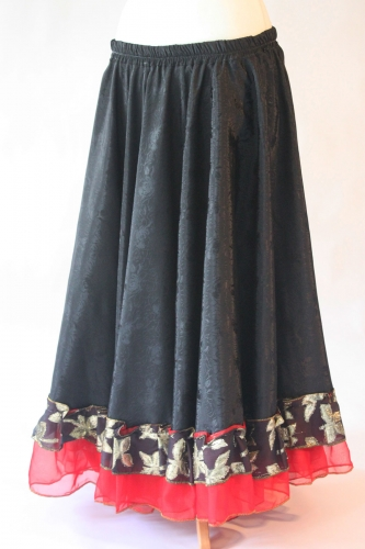 Belly dance gypsy tribal skirt - black with red ruffles