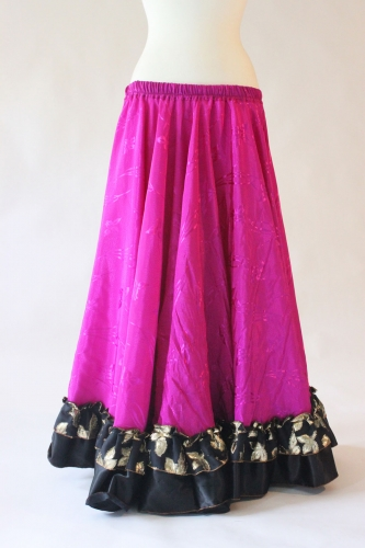 Belly dance gypsy tribal skirt - fuchsia with black ruffles