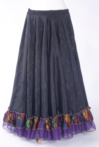 Belly dance gypsy tribal skirt - black with purple+ ruffles