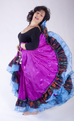 Belly dance gypsy tribal skirt - fuchsia with blue ruffles