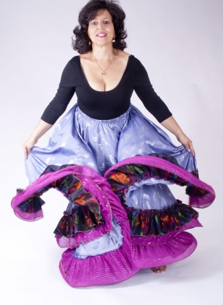 Belly dance gypsy tribal skirt - lilac with pink ruffles