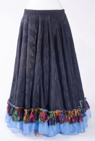 Belly dance gypsy tribal skirt - black with blue ruffles