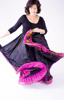 Belly dance gypsy tribal skirt - Black with pink ruffles