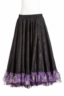 Belly dance gypsy tribal skirt - Black with purple ruffles