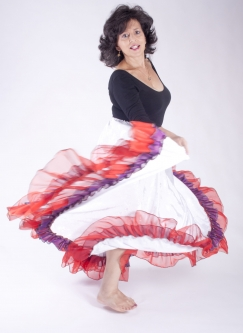 Belly dance gypsy tribal skirt - White with red ruffles
