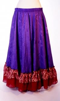 Belly dance gypsy tribal skirt - purple with red ruffles