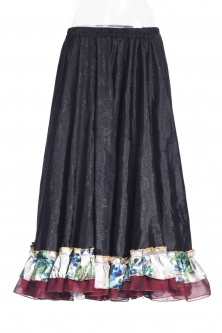 Belly dance gypsy tribal skirt - black with oriental ruffles