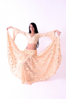 Belly dance printed skirt - gold leaf