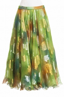 Belly dance luxury sari print skirt - spring green
