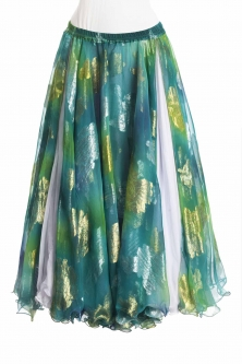 Belly dance luxury sari print skirt - sea teal