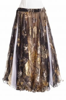 Belly dance luxury sari print skirt - gilt black