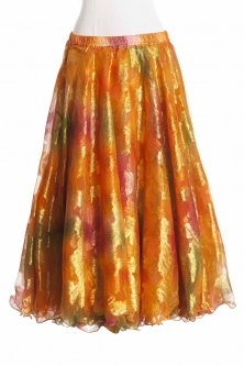 Belly dance luxury sari print skirt - hot orange