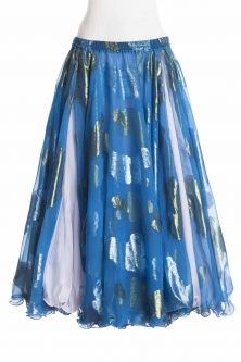 Belly dance luxury sari print skirt - jewel blue