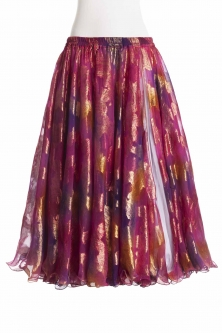 Belly dance luxury sari print skirt - deep fuchsia