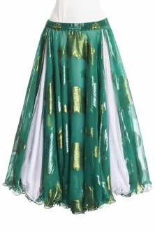 Belly dance luxury sari print skirt - leaf green