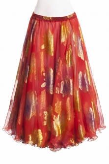 Belly dance luxury sari print skirt - coral red