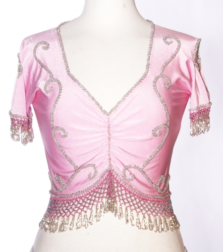 Belly dance lycra top - baby pink and silver