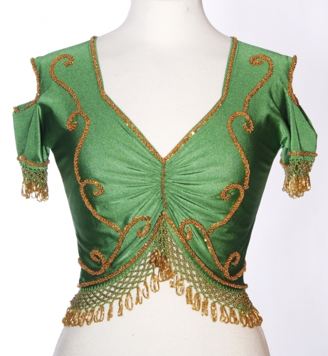 Belly dance lycra top - emerald and gold