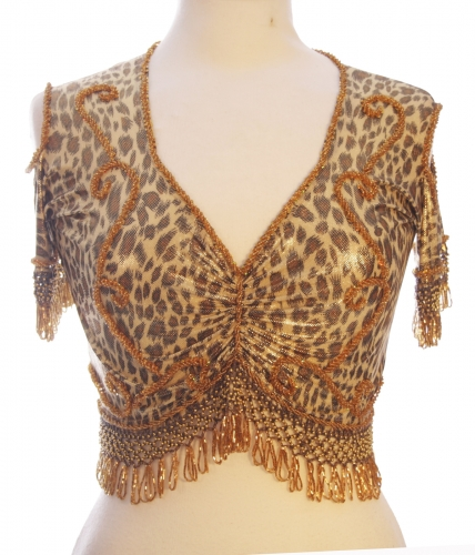 Belly dance lycra top - leopard and gold