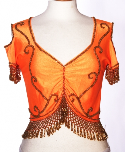 Belly dance lycra top - orange and gold