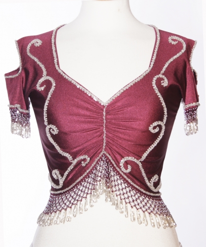Belly dance lycra top - burgundy and silver