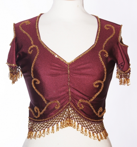 Belly dance lycra top - burgundy and gold
