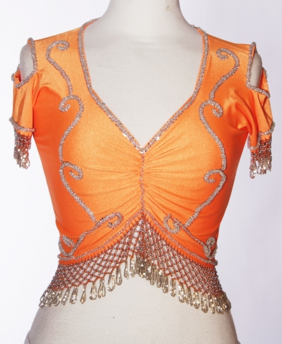 Belly dance lycra top - orange and silver
