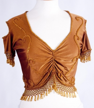 Belly dance lycra top - dark gold and gold