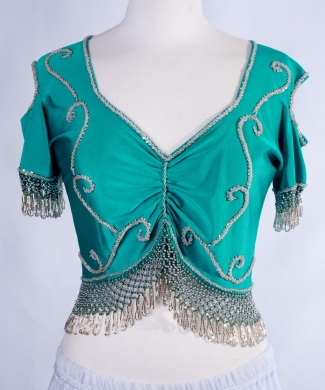 Belly dance lycra top - teal and silver