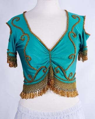 Belly dance lycra top - teal and gold