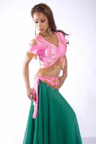 Belly dance lycra top - Pink (medium shade) and gold