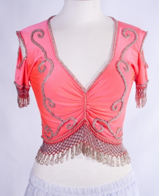 Belly dance lycra top - coral and silver