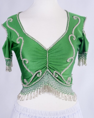 Belly dance lycra top - emerald and silver