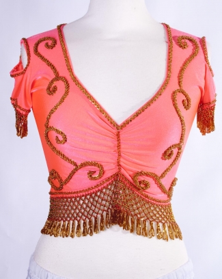 Belly dance lycra top - coral and gold