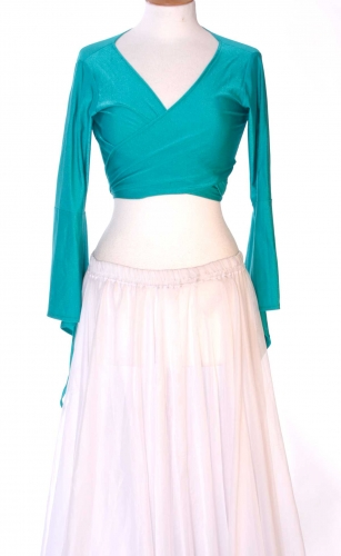Belly dance lycra tie top - teal