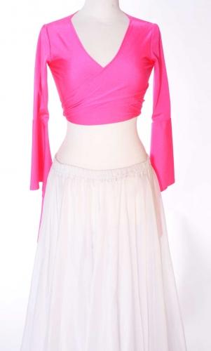 Belly dance lycra tie top - hot pink