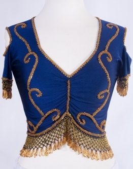 Belly dance lycra top - navy and gold